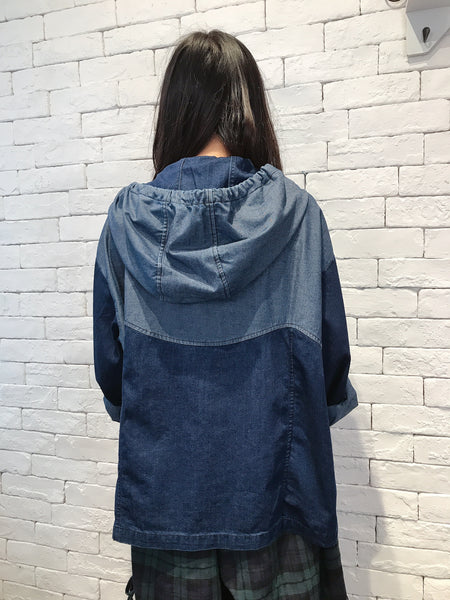 2009016 JP bi-colour denim hooded outer