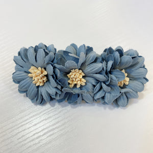 1405HA40-BL  KR Spring Floral Fabric Hair Clip - Blue