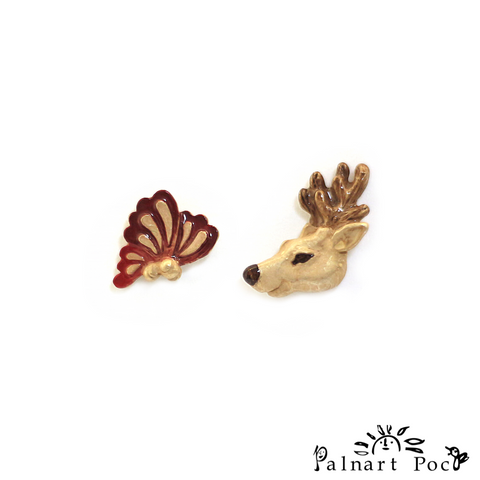 1003PA510 Palnart Poc - Butterfly Deer Pierced Earrings