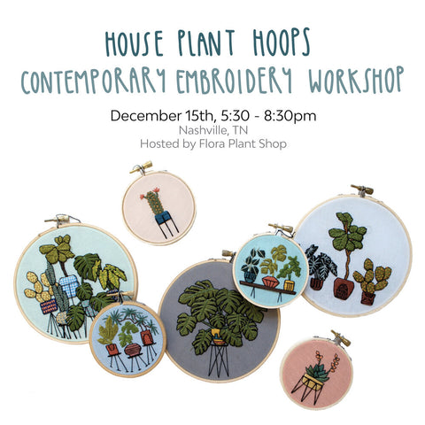 House Plant Hoops: Contemporary Embroidery Workshop with Sarah K Benning