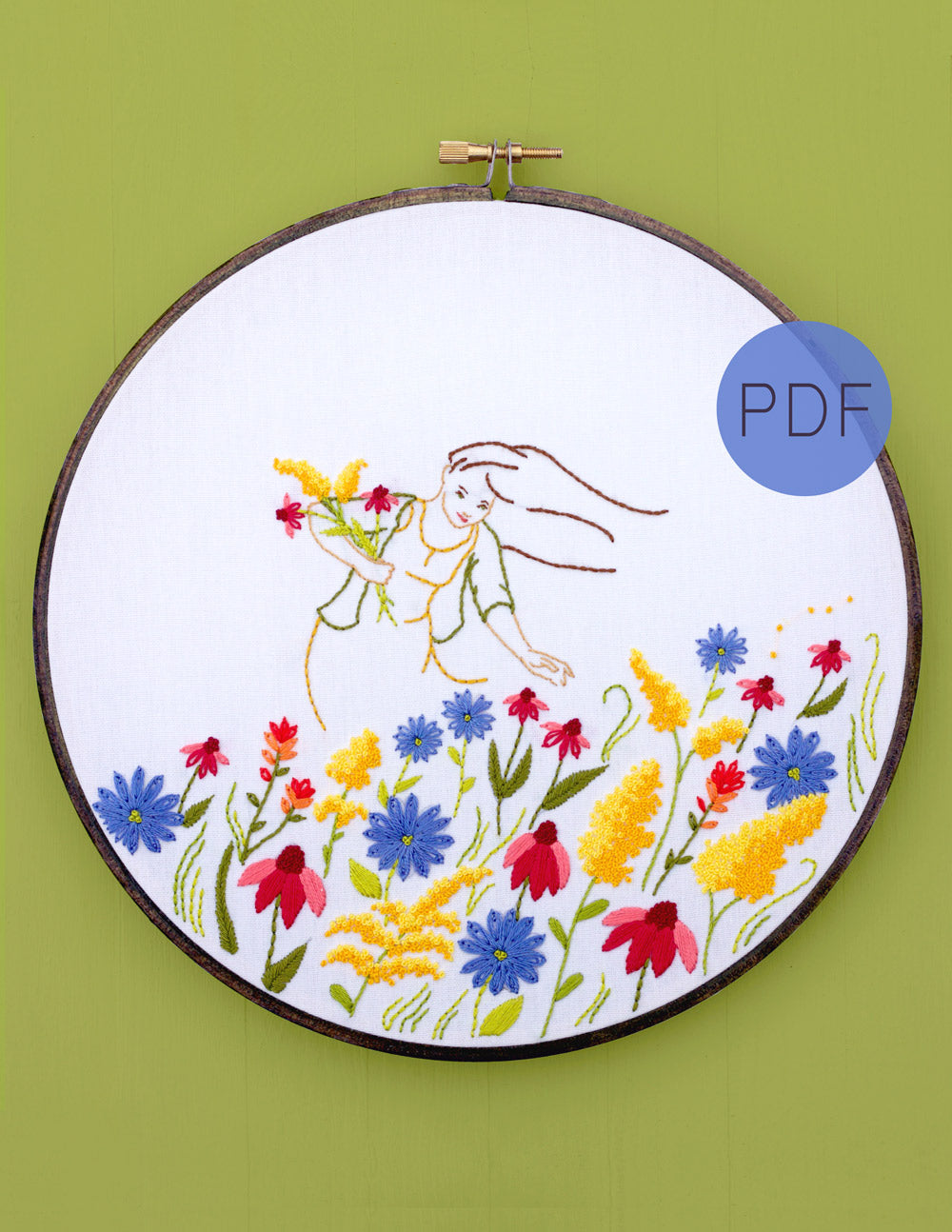 Floral Mountain Hand Embroidery Pattern