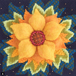 Jacobean Sunflower Stitch Guide and Wet Felting Kit
