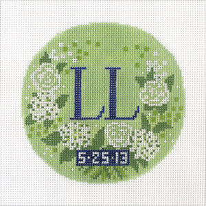 Custom Needlepoint Wedding Ornament - Bouquet With Date