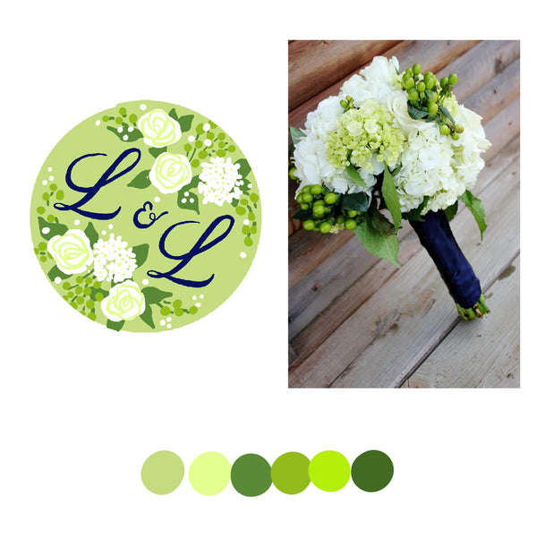 Custom Needlepoint Wedding Ornament - Bouquet With Monogram