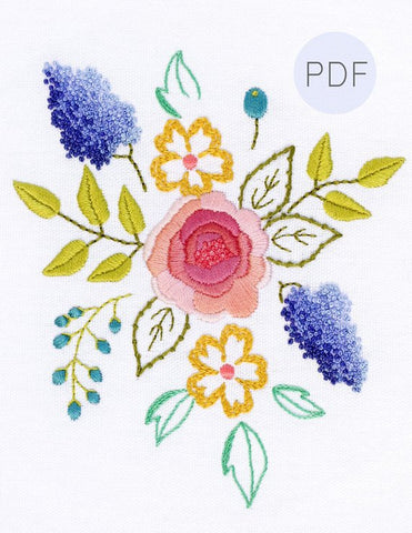 Blush Bouquet Hand Embroidery Pattern