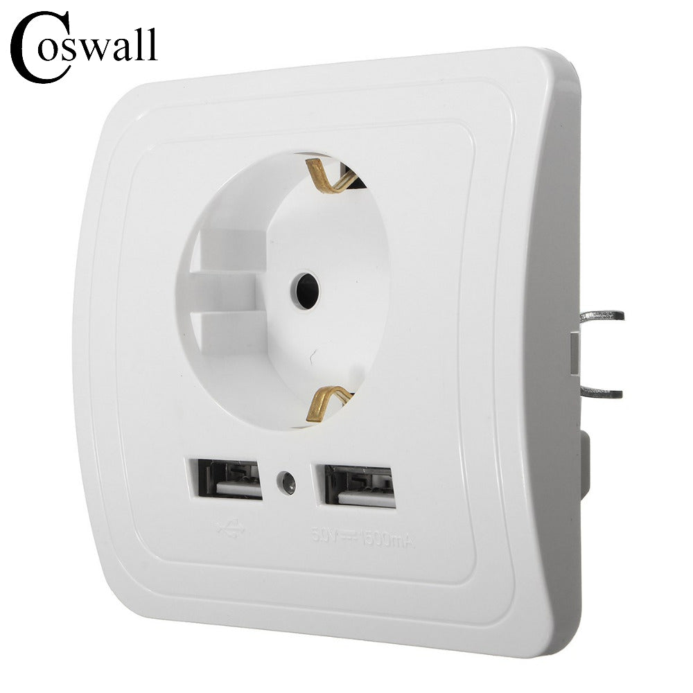 Wholesale wall power Socket Plug Grounded with a Dual USB Charger Port