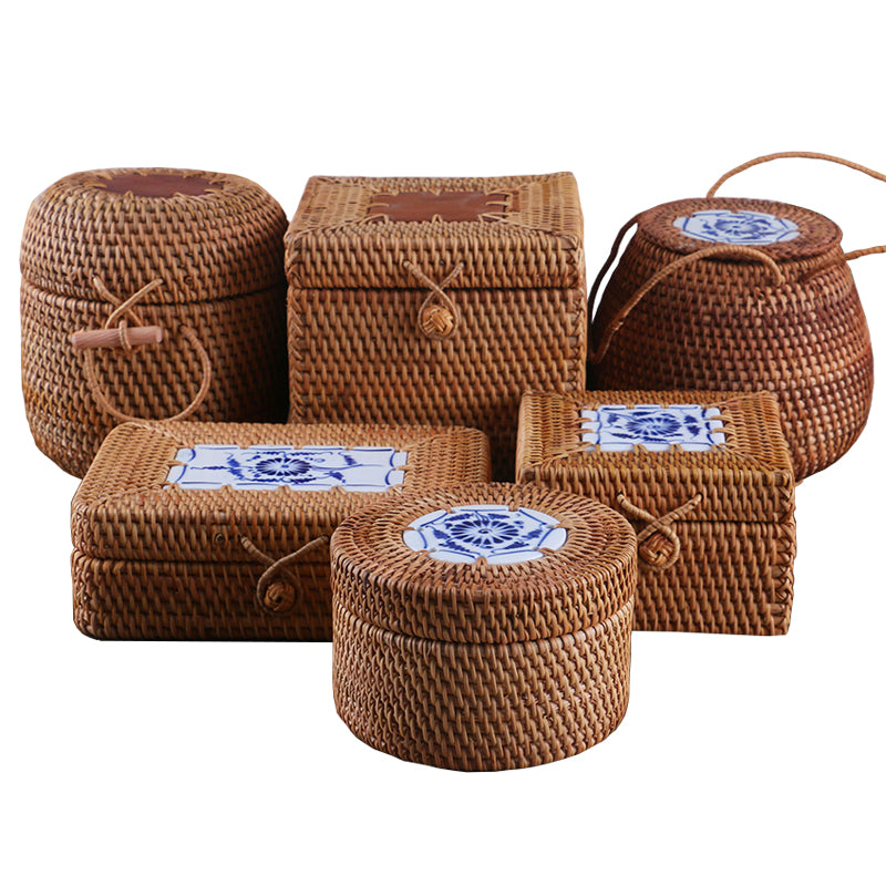 Rattan Storage Box With Lid Handmade Woven Wooden Organizer