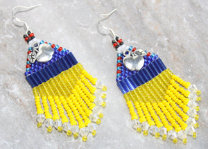 Snow White-Inspired Beaded Earrings