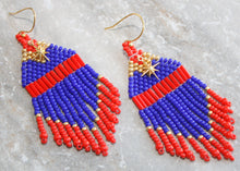 Load image into Gallery viewer, Captain Marvel-Inspired Beaded Earrings