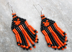 Mickey Mouse Halloween Earrings; Orange on Black - MINI