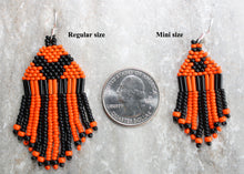Load image into Gallery viewer, Mickey Mouse Halloween Earrings; Black on Orange - MINI