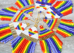 Heart Rainbow Pride Beaded Earrings