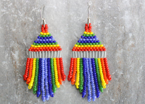 Pride Mini Beaded Earrings; Silver
