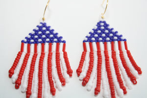 American Flag Beaded Earrings