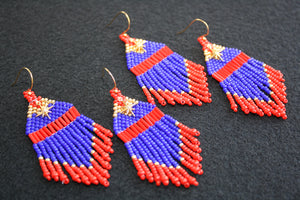 Captain Marvel-Inspired Beaded Earrings