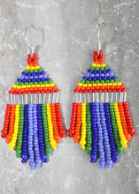 Load image into Gallery viewer, Pride Mini Beaded Earrings; Silver