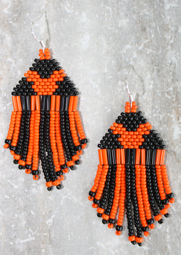 Mickey Mouse Halloween Earrings; Orange on Black