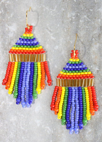 Pride Mini Beaded Earrings; Gold