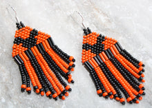 Load image into Gallery viewer, Mickey Mouse Halloween Earrings; Black on Orange