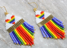 Load image into Gallery viewer, Heart Rainbow Pride Beaded Earrings
