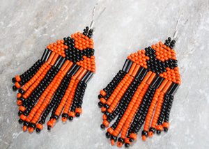 Mickey Mouse Halloween Earrings; Black on Orange