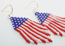 Load image into Gallery viewer, American Flag Beaded Earrings