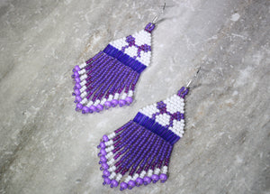 Potion Purple Beaded Earrings; MINI