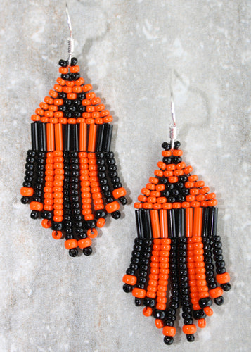 Mickey Mouse Halloween Earrings; Black on Orange - MINI