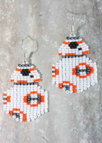 BB-8 Inspired Beaded Earrings