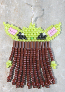 Baby Yoda-Inspired Beaded Earrings