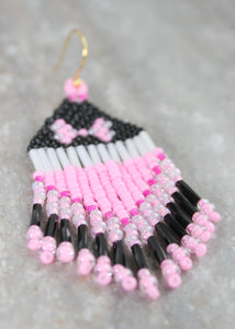 Minnie Mouse-Inspired Beaded Earrings. Classic Pink!