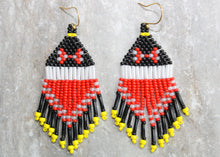 Load image into Gallery viewer, Minnie Mouse-Inspired Beaded Earrings. Classic Red!