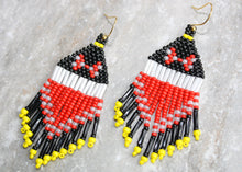 Load image into Gallery viewer, Red Minnie Mouse Beaded Earrings