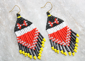 Red Minnie Mouse Beaded Earrings