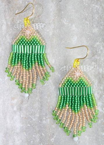 Tinker Bell-Inspired Beaded Earrings