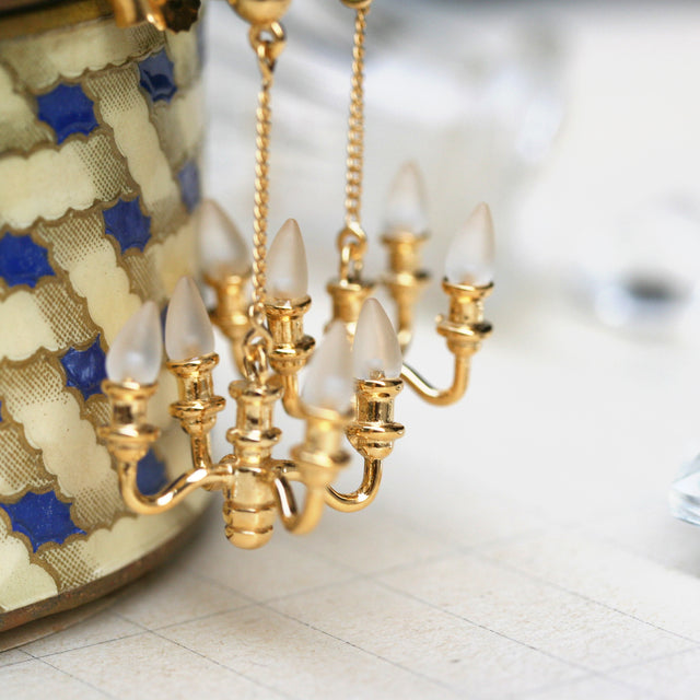 Gold mini chandelier earrings