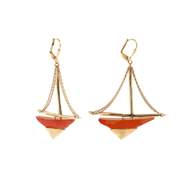 Jasper sailing ship earrings