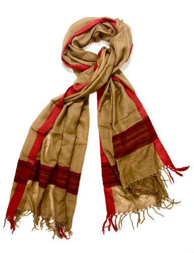 Hand Loomed Kullu Wool Scarf- Camel and Red