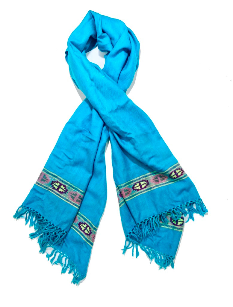 Hand Loomed Kullu Wool Scarf- Bright Blue