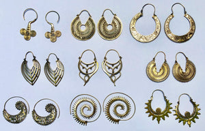 Fan Drop Brass Earrings
