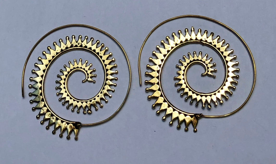 Feathered Spiral Brass Earrings