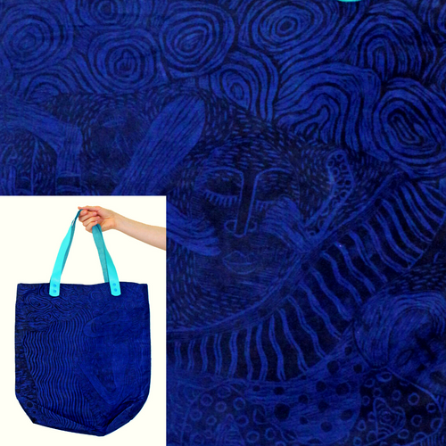 Whimsical Water-Resistant Bag, Blues