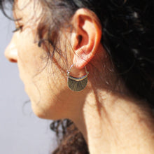 Load image into Gallery viewer, Silver Fan Hill Tribe Earrings