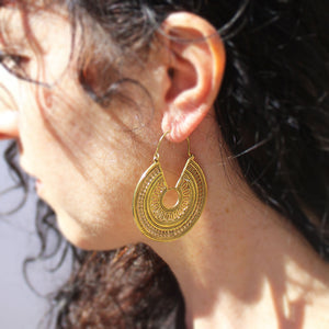 Mayan Queen Brass Earrings