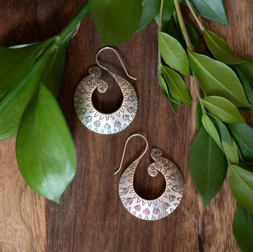 Curved Fishtail Hoop Hill Tribe Earrings