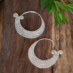 Detailed Fish Tail Hill Tribe Hoop Earrings