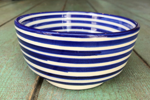 Striped Blue Bowl - GadaboutGoods