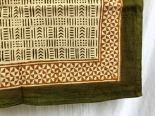 Load image into Gallery viewer, India Bohemian Wood Block Textile, Green Mix Detail