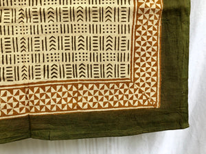 India Bohemian Wood Block Textile, Green Mix Detail