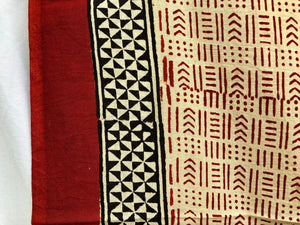 India Bohemian Wood Block Textile, Red Mixed Detail